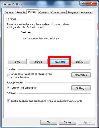 A screenshot of Internet Explorer's privacy settings.