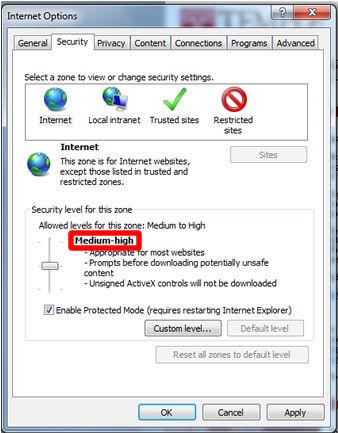 A screenshot of security settings in Internet Explorer.