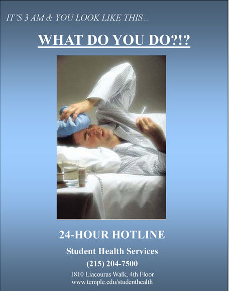 A flyer for Student Health Services 24-hour services hotline.