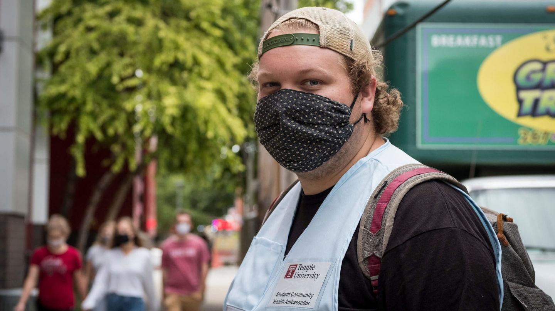 Nicholas Palomba, a student community health ambassador on Temple's Main Campus.